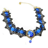 Blue Velvet Victorian Gothic Lace Choker | Angel Clothing