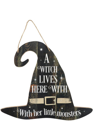 A Witch Lives Here Sign | Angel Clothing