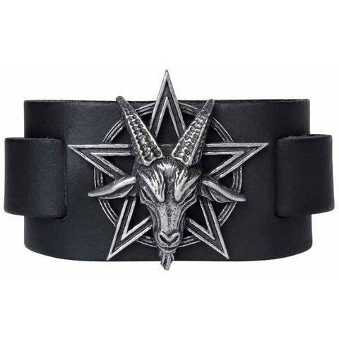 Alchemy Baphomet Leather Wriststrap | Angel Clothing