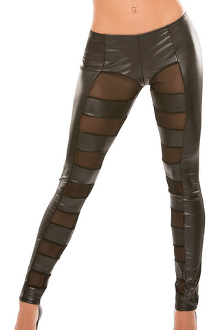 Allure Wetlook Mesh Pants Black | Angel Clothing