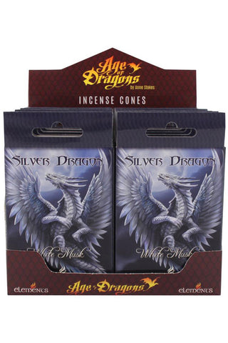 Anne Stokes Silver Dragon Incense Cones | Angel Clothing