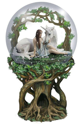 Anne Stokes Pure Heart Unicorn Snow Globe 18cm | Angel Clothing