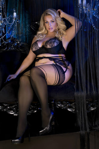 Ballerina 485 Hold Ups Stockings Plus Size Black Skin | Angel Clothing