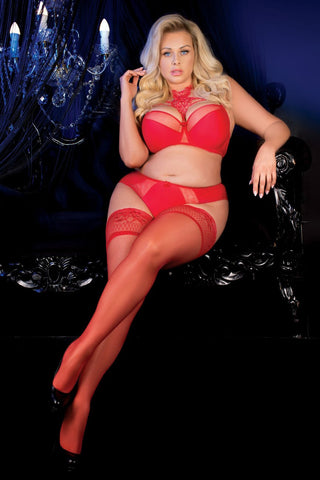 Ballerina 487 Hold Ups Stockings Plus Size Red | Angel Clothing