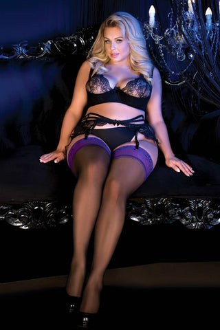 Ballerina 490 Hold Ups Stockings Plus Size Black Purple | Angel Clothing