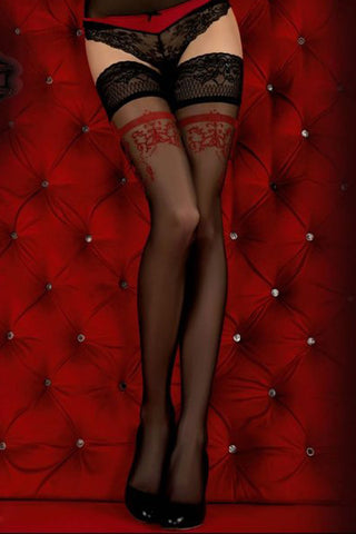 Ballerina 343 Hold Ups Stockings Black/Red | Angel Clothing