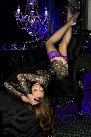 Ballerina Black Purple 501 Hold Ups | Angel Clothing