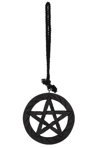 Black Wooden Hanging Pentagram | Angel Clothing