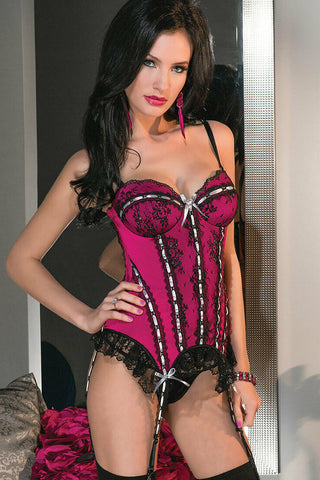 Coquette Microfiber And Metallic Lace Bustier