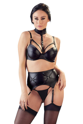 Cottelli Lingerie Wetlook Suspender Set | Angel Clothing