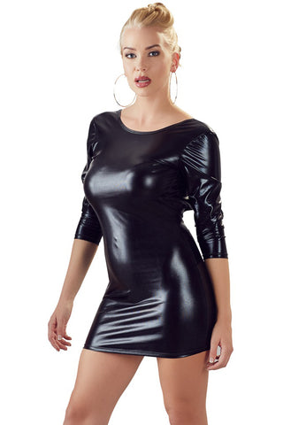 Cottelli Collection Wetlook Dress Black | Angel Clothing