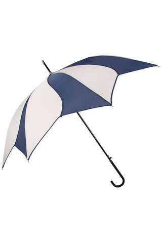 Cream and Navy Swirl Walking Stick Umbrella | Angel Clothing
