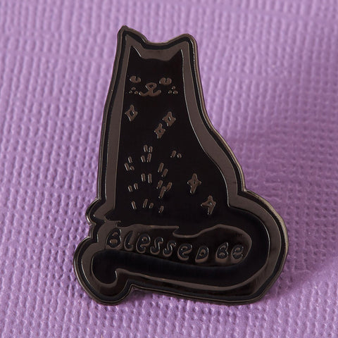 Punky Pins Blessed Be Cat Enamel Pin | Angel Clothing