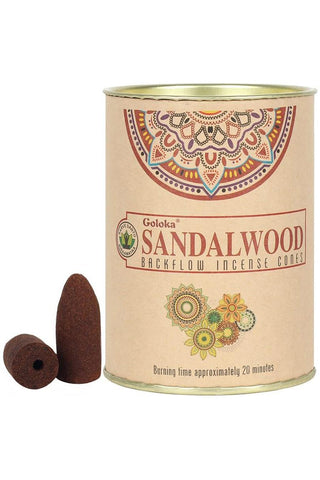 Goloka Sandalwood Backflow Incense Cones | Angel Clothing