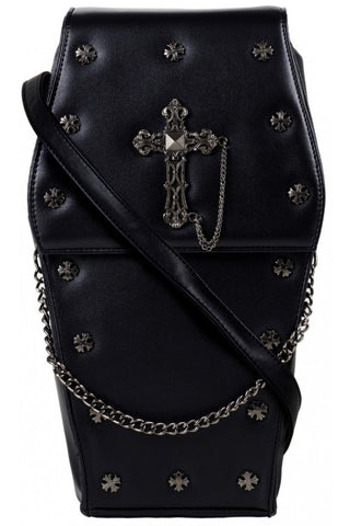GothX Metal Cross Black Coffin Bag | Angel Clothing
