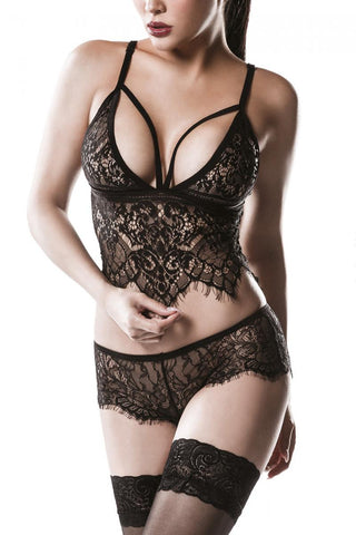 Grey Velvet Two-Part Lace Set | Angel Clothing