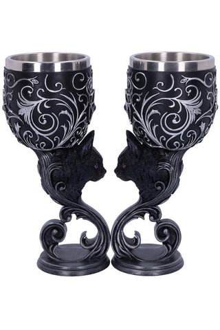 Hex of the Heart Goblet Gothic Cats Goblet Set | Angel Clothing