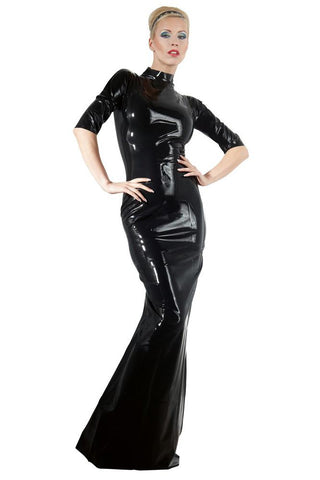 LATE-X Long Black Latex Dress | Angel Clothing