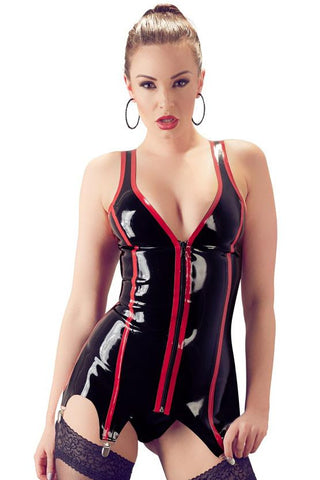 LATE-X Black and Red Latex Basque | Angel Clothing