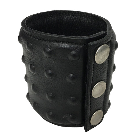 Black Leather Studded Wrist Cuff | Angel Clothing
