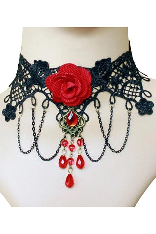 Black Lace Red Rose Gothic Choker | Angel Clothing