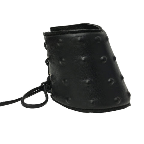 Black Leather Lace Up Studded Gauntlet | Angel Clothing