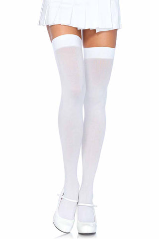 Leg Avenue White Nylon Thigh Highs | Angel Clothing