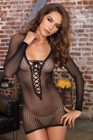 Leg Avenue Warning Net Lace Up Mini Dress | Angel Clothing