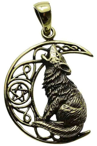 Lisa Parker Moon Gazing Wolf Pendant Bronze | Angel Clothing
