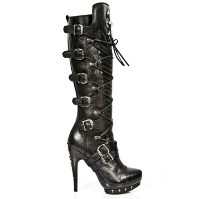 New Rock Ladies Tall Knee Boots with Crosses M-PUNK062-S1 | Angel Clothing