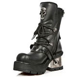 New Rock Black Skull Ankle Boots M.1044-S1 | Angel Clothing