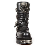 New Rock Black Boots Skull Design M.375-S1 | Angel Clothing