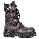 New Rock Purple Vintage Flower Reactor Boots M.391-S5 | Angel Clothing