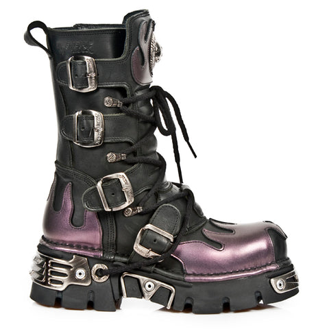New Rock Boots Purple Flame Mid Calf Boots - 591 | Angel Clothing