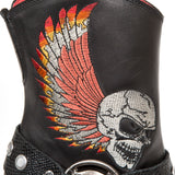 New Rock Ladies Cowboy Boots with Winged Skull M.BULL006-S1 | Angel Clothing