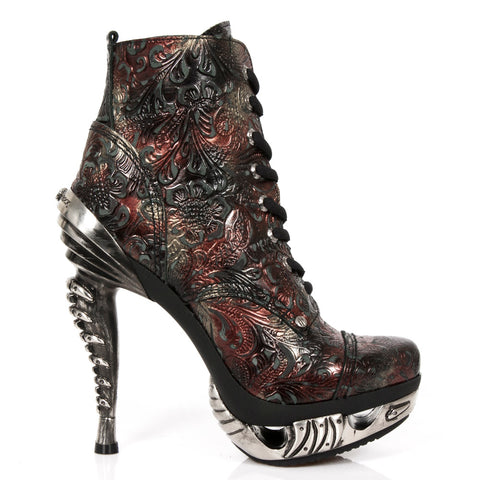 New Rock Red Vintage Flower Ankle Boots M.MAG016-S6 | Angel Clothing