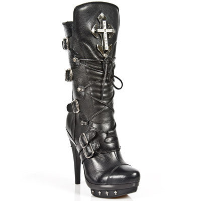 New Rock Ladies Cross Boots M-PUNK061-S1 | Angel Clothing