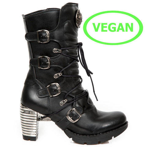 New Rock Black Vegan Trail Boots M.TR003-VS1 | Angel Clothing