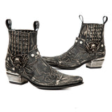 New Rock Distressed Cowboy Ankle Boots M.WST045-S1. | Angel Clothing