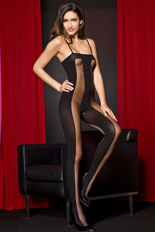 Music Legs Opaque Crotchless Bodystocking | Angel Clothing