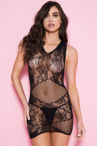 Music Legs Lace Fishnet Mini Dress | Angel Clothing