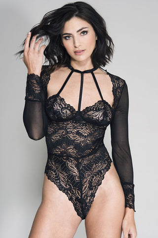 Music Legs Long Sleeve Mesh Lace Teddy | Angel Clothing