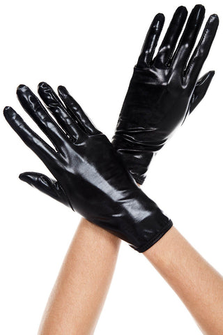MUSIC LEGS Womens Short Wet Look Gloves