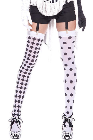 Music Legs Black White Harlequin Holdups | Angel Clothing