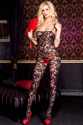 Music Legs Floral Bodystocking 1066 | Angel Clothing