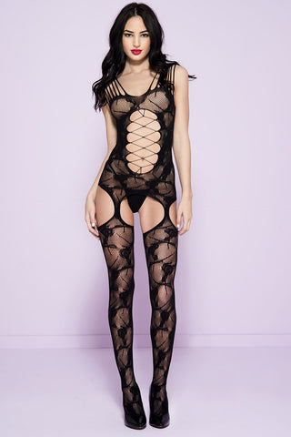 Music Legs Bodystocking 1719 Black | Angel Clothing