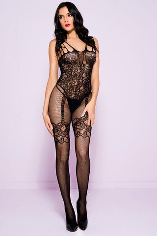 Music Legs Bodystocking Black 1783 | Angel Clothing