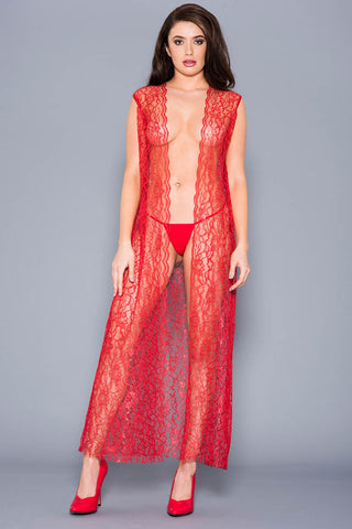 Music Legs Draping Open Lace Gown Red | Angel Clothing