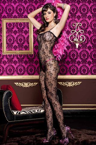 Music Legs Floral Lace Bodystocking Black | Angel Clothing