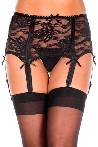 Music Legs Flower Lace Garterbelt | Angel Clothing